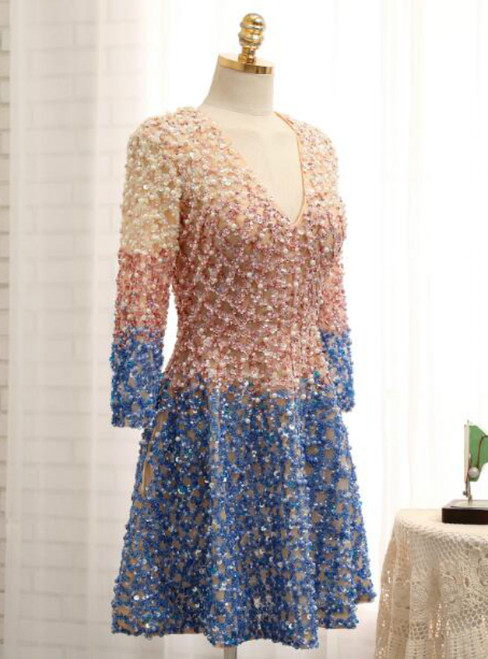Long Sleeves Crystal Long Sleeve V-neck Mother Of The Bride Dress