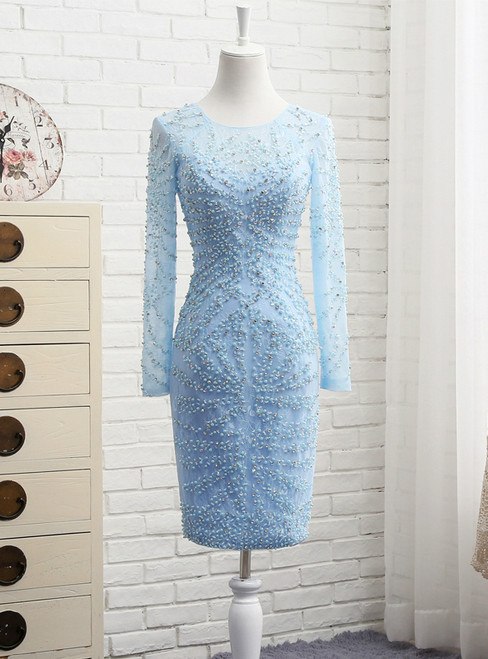 Light Blue Short Prom Dress Lace With Beaded Mother Of The Bride Dress
