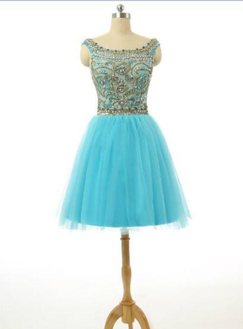 Scoop Top Beaded Blue Knee Length Cocktail Dresses
