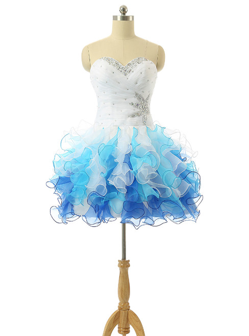 White And Blue Organza Knee Length Cocktail Dresses