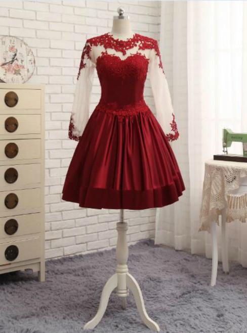 Burgundy Satin Short Lace Elegant Short Cocktail Dresses