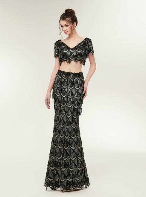 Fashion Mermaid Black Two Piece V-neck Sequins Prom Dress