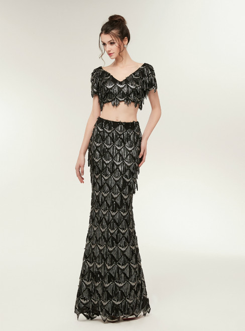 Fashion Mermaid Black Two Piece V-neck Sequins Prom Dress