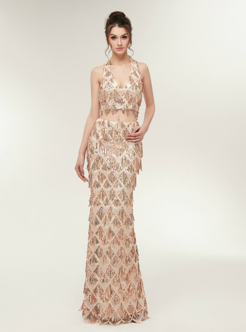 Gold Mermaid Halter Two Piece Backless Floor Length Prom Dress