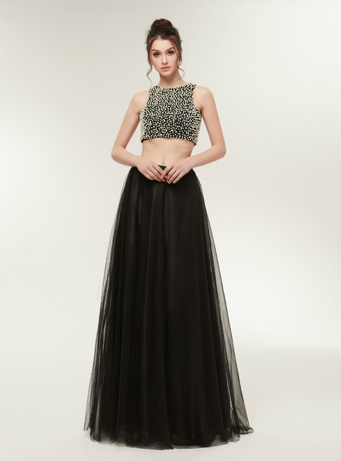 Black Two Piece Tulle Backless Floor Length Prom Dress