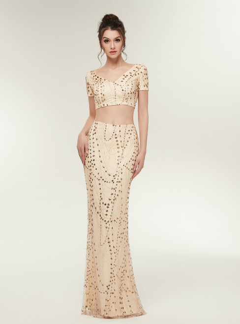 Mermaid Gold Two Piece V-neck Short Sleeve Sequins Prom Dress