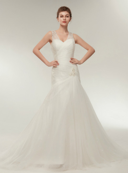 White Straps Mermaid V-neck Tulle Beading Wedding Dress