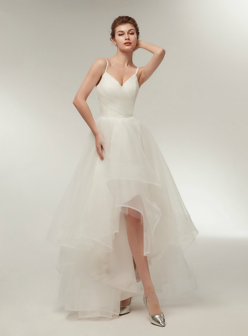 Simple White Hi Lo Spaghetti Straps Tulle Wedding Dress