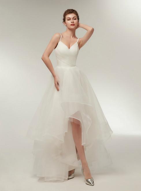 Simple White Hi Lo Spaghetti Straps Tulle Wedding Dress