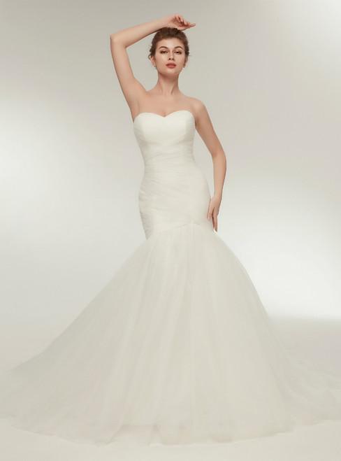 Women White Mermaid Sweetheart Tulle Wedding Dress