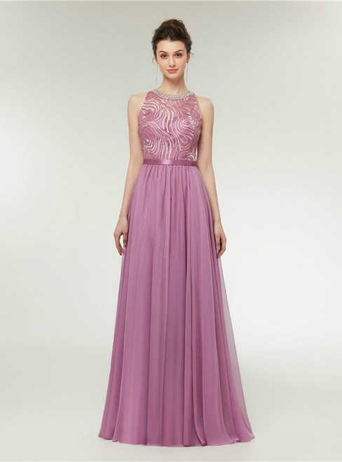 A-Line Pink Chiffon Lace Beading Floor Length Prom Dress