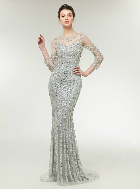 Mermaid Silver Tulle Sequins Long Sleeve Bling Bling Prom Dress