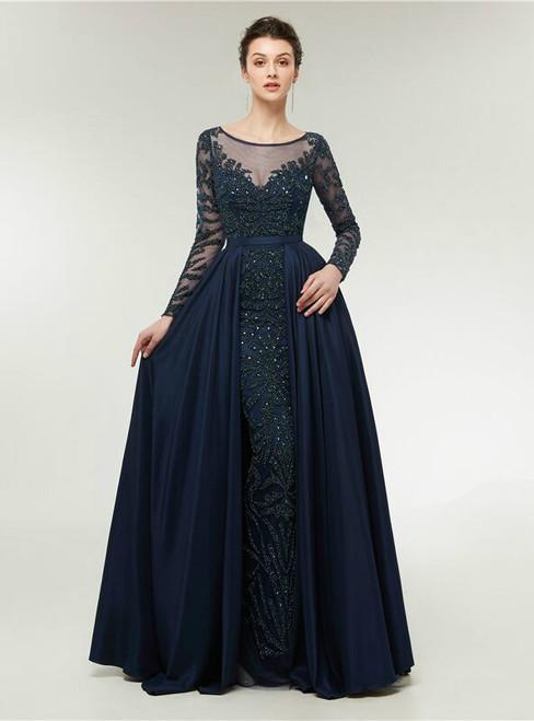 Luxurious Blue Long Sleeve Beading Illusion Prom Dress