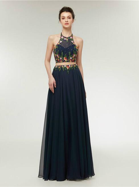 Blue Chiffon Two Piece Halter Backless Print Prom Dress