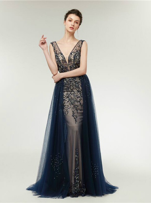 Stunning Blue Deep V-neck Backless Tulle Beading Prom Dress