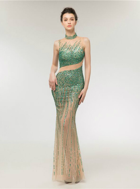 Luxurious Mermaid Champagne Tulle Green Beading Prom Dress