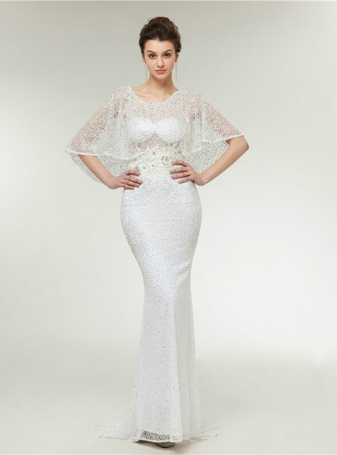 High Quality White Mermaid Beading Lace Appliques Prom Dress
