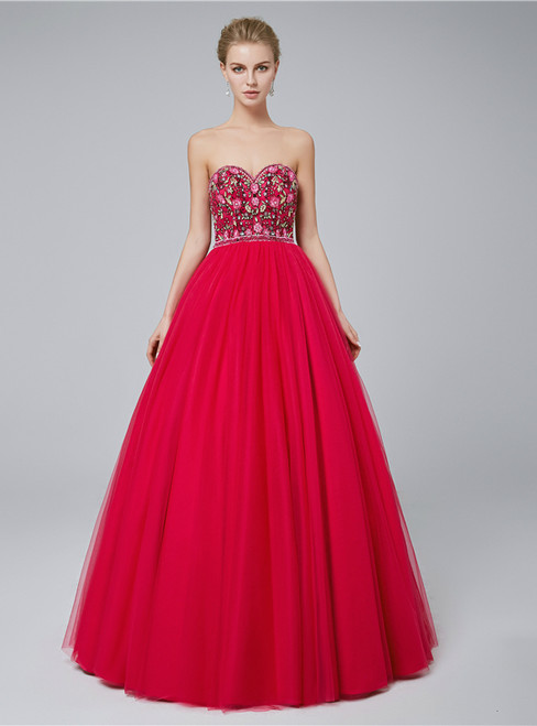 A-Line Sweetheart Tulle Embroidery High Waist Prom Dress
