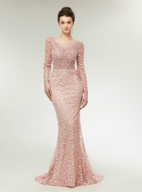 Pink Mermaid Long Sleeve Lace Pearls Backless Prom Dress