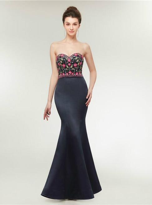 Mermaid Spaghetti Straps Satin Embroidery Prom Dress