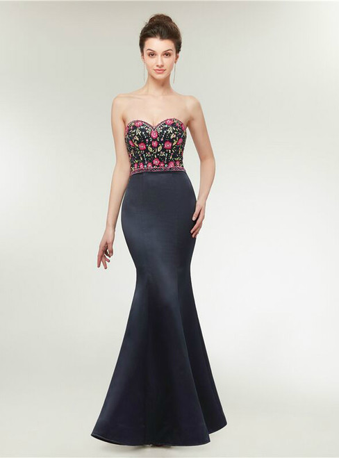 Mermaid Spaghetti Straps Satin Embroidery Prom Dress