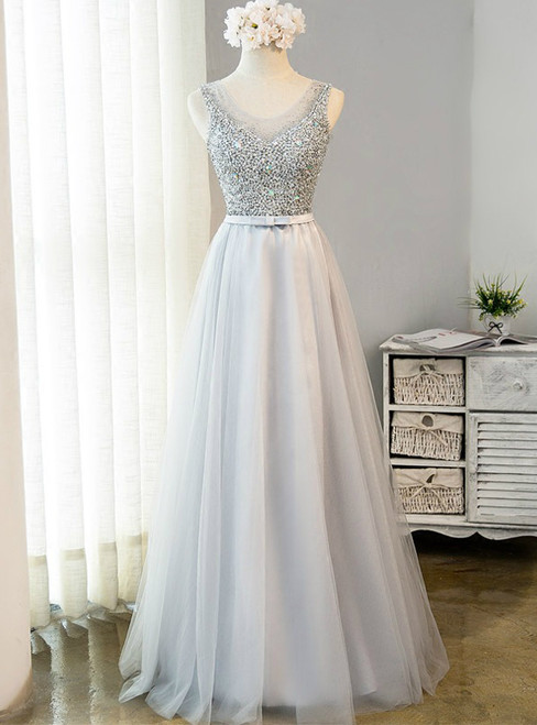 In Stock:Ship in 48 hours Ready To Ship Gray Tulle Beading Prom Dress