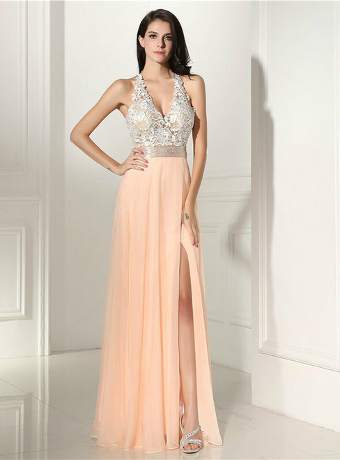 Simple A-Line Halter Backless Lace With Side Split Prom Dress