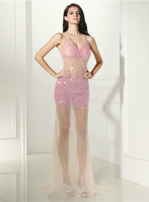 Pink Sexy Mermaid V-neck Backless Crystal Prom Dress