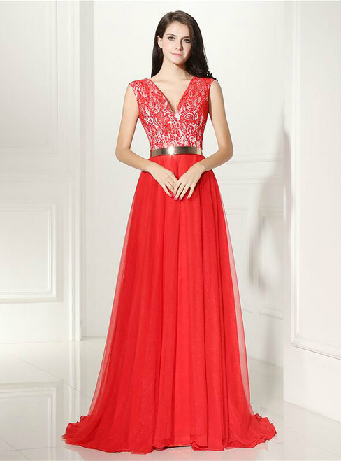 Red Tulle Lace V-neck With Sash Floor Length Prom Dress