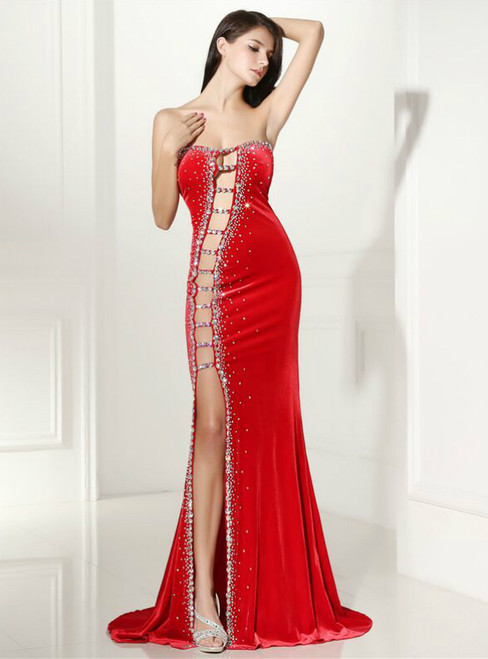 Red Mermaid Strapless Cut Out Split Front Prom Dress