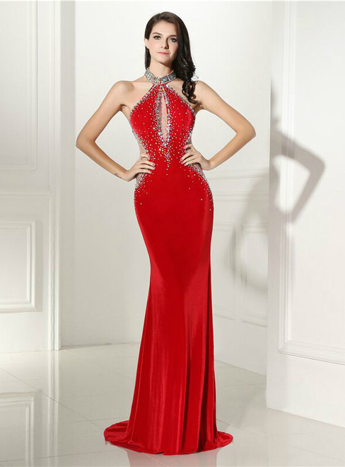 Sexy Red Mermaid Halter Velvet With Crystal Prom Dress