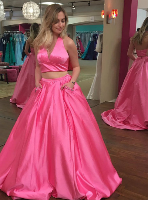 A-Line Two Piece Halter Satin Prom Dress With Pocket