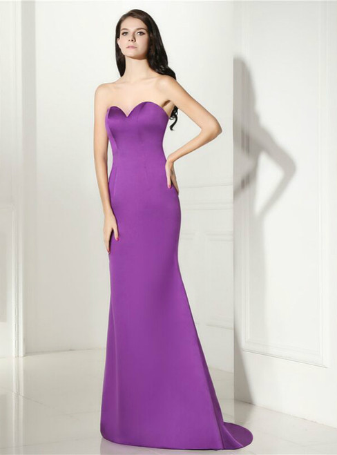 Purple Mermaid Satin Sweetheart Backless Prom Dress