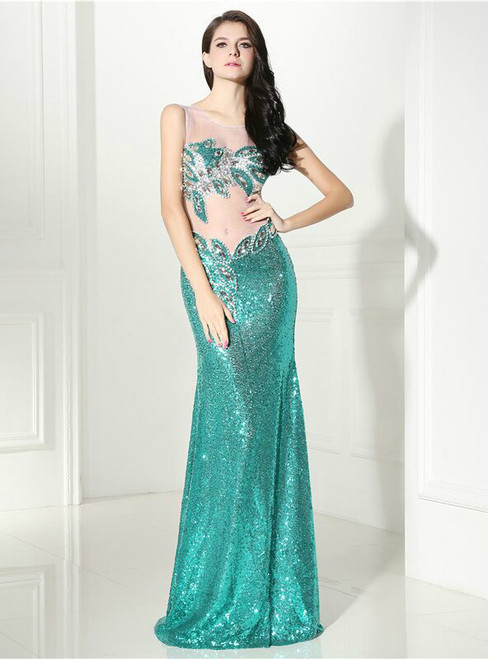 Green Mermaid Sequins Crystal Floor Length Prom Dress