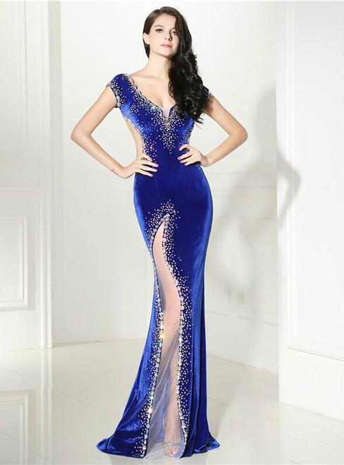 Sexy Mermaid Blue Velvet Deep V-neck Backless Prom Dress