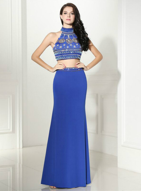Blue Two Piece Halter Backless Floor Length Prom Dress