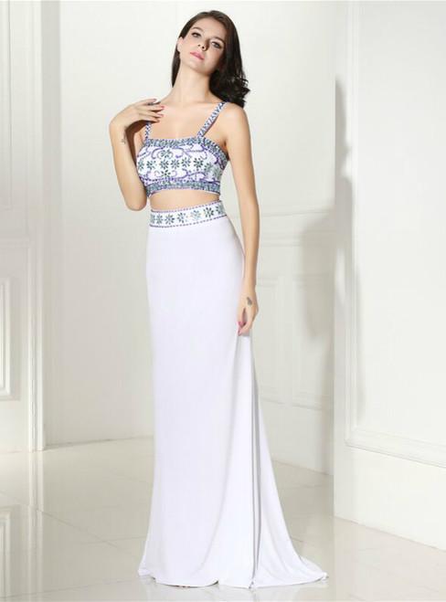White Mermaid Chiffon Two Piece Spaghetti Straps Prom Dress