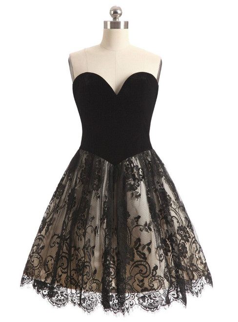 In Stock:Ship in 48 hours Quick Deilvery Black Sweetheart Lace Dress