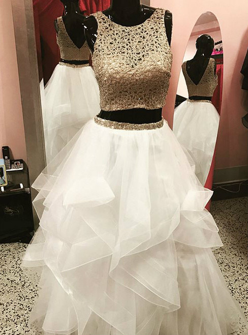 fb752f88daf9 Gold White Ball Gowns Two Piece Tulle Backless Prom Dress
