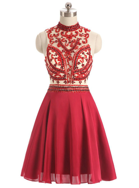 In Stock:Ship in 48 hours Red High Neck Chiffon Homecoming Dress