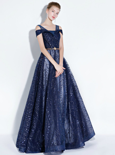 In Stock:Ship in 48 hours Blue Sequins Bling Bling With Sash Prom Dress