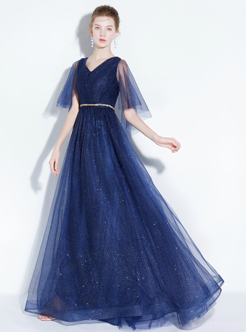In Stock:Ship in 48 hours Blue Tulle Sequins V-neck Prom Dress