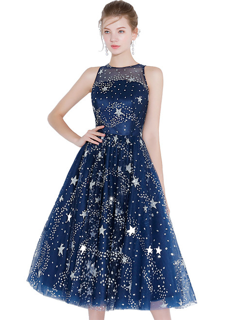 In Stock:Ship in 48 hours Blue Tulle Sequins Tea length Prom Dress
