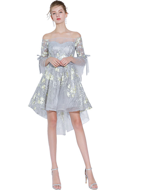 In Stock:Ship in 48 hours  Gray Off The Shoulder Hi Lo Prom Dress