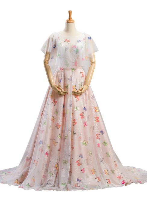 A-Line Ball Gown Pink Print Backless Wedding Dress
