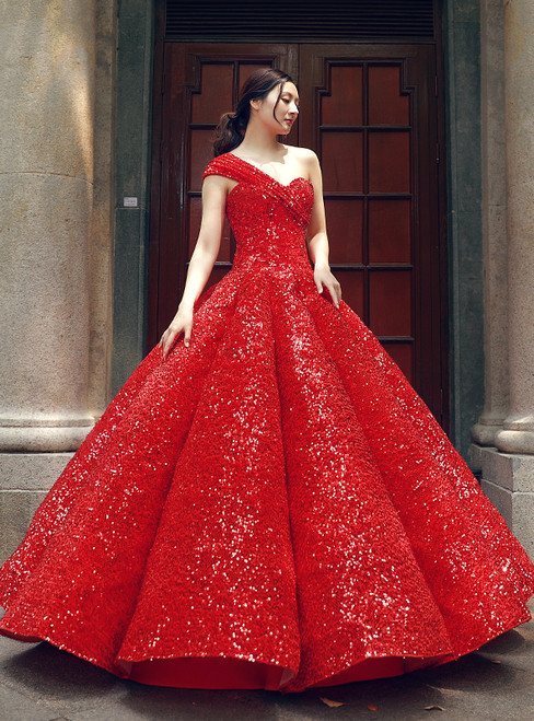 Red Ball Gown One Shoulder Sequins Floor Length Wedding Dress