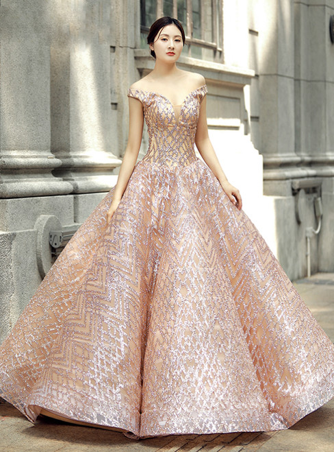 Pink Ball Gown Off The Shoulder Sequins Wedding Dress
