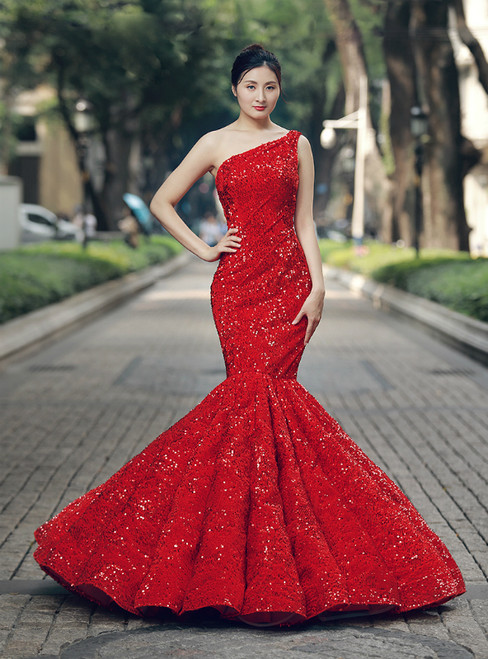 Mermaid Red Sequins One Shoulder Floor Length Wedding Dress