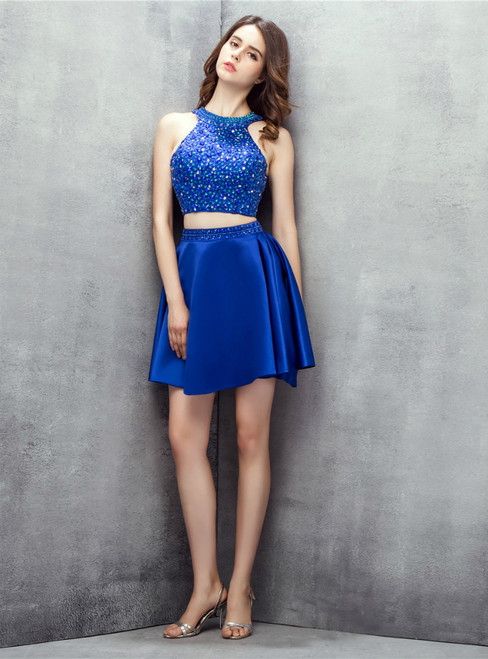 Blue Two Piece Halter Backless Satin With Beading Homecoming Dress