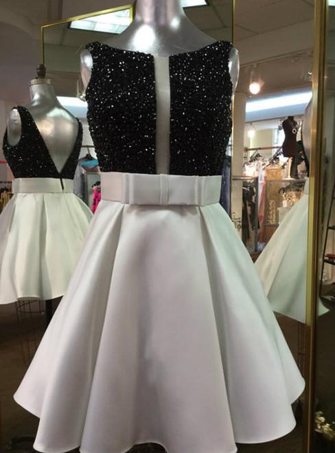 White Homecoming Dress,Short Prom Dress,Beaded Dress